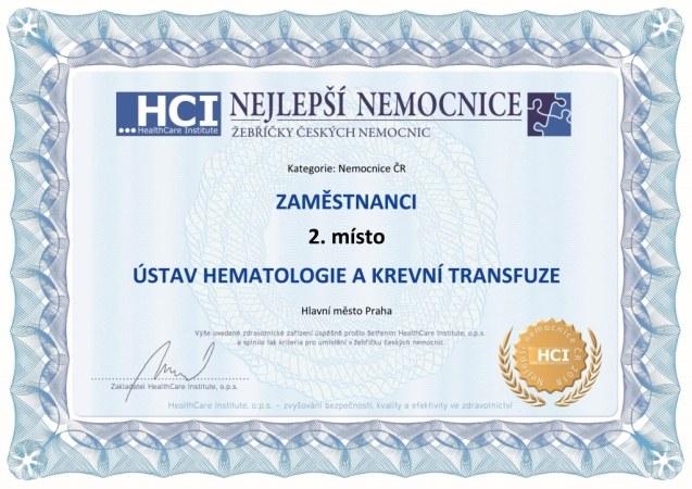 Nemocnice roku 2018 - ČR - certifikát