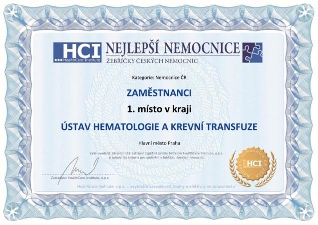 Nemocnice roku 2018 - kraj - certifikát